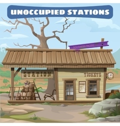 Station of the 19th century in Wild West series vector