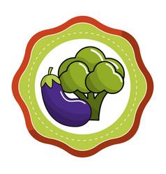 Sticker broccoli and eggplant vegetable icon vector