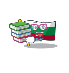 Student with book flags bulgarian kept in mascot vector