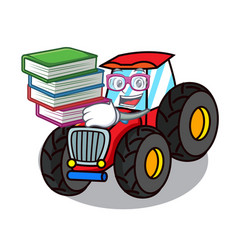 Student with book tractor mascot cartoon style vector