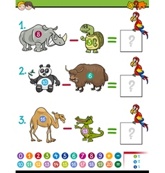 Subtraction educational game vector
