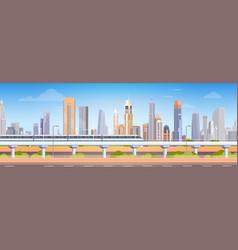 subway over city skyscraper view cityscape vector image