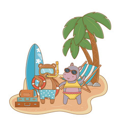 summer and cute animals cartoons vector image