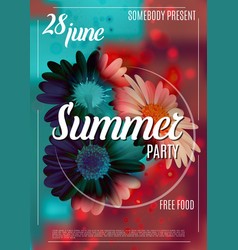 summer party poster template with flowers vector image