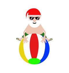 Summer santa claus on a beach ball vector