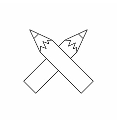 Two crossed pencils icon outline style vector image