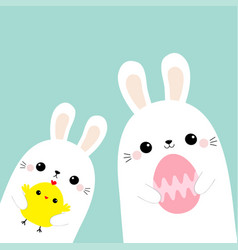 two rabbit bunny friends holding painting egg vector image