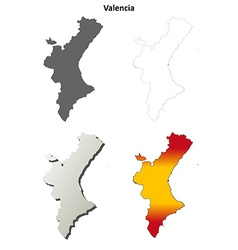Valencia blank detailed outline map set vector