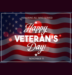 veteran day with flag usa on background vector image