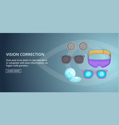 Vision correction banner horizontal cartoon style vector