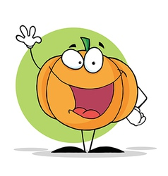 Waving Pumpkin Mascot Cartoon Character vector