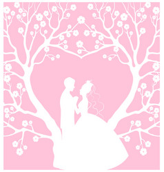 wedding cardwith groom and bride vector image