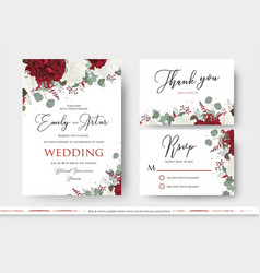 wedding floral invite save the date thank you card vector image