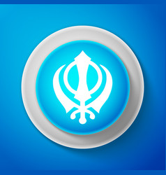 White sikhism religion khanda symbol icon vector