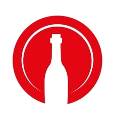 Wine bottle decorative icon vector