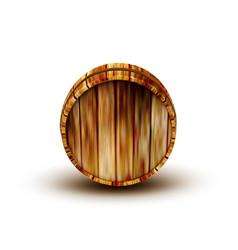 Winery brown wooden oak barrel front view vector