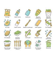zero waste swaps handmade color icons set vector image