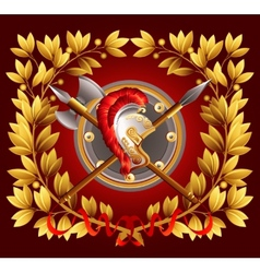 Antique arms and a laurel wreath vector image