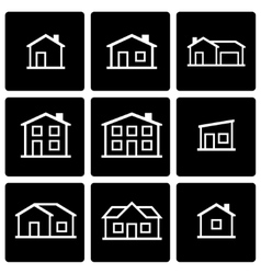 black house icon set vector image