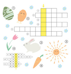crossword educational children game with answer vector image vector image