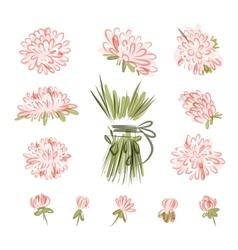 Design elements for floral bouquet vector image