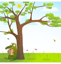 Funny monster under the summer tree reading book vector image vector image