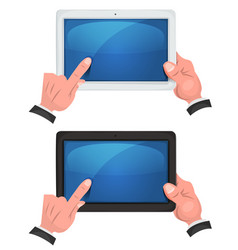 Hands using touch screen on digital tablet vector