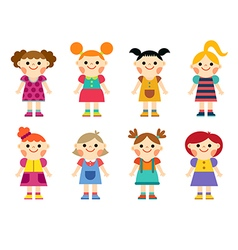 Happy little girls collection set vector image