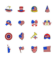 independence day icons set cartoon vector image
