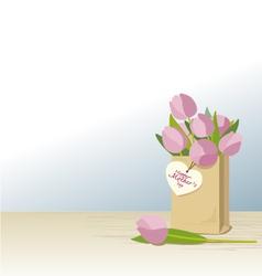 Pink tulips in brown paper bag vector image