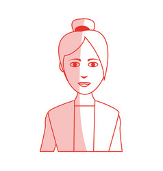 red silhouette shading cartoon half body asian vector image vector image