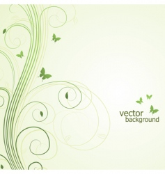 abstract floral background with butterfly vector image vector image