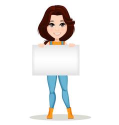 Cute cartoon character holding blank banner vector