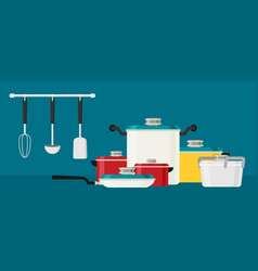 flat design concept icons of kitchen utensils vector image vector image