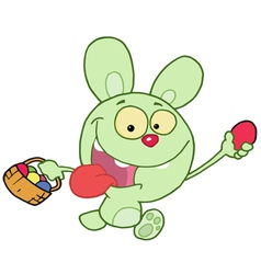 Green Bunny Running And Holding Up An Egg vector image