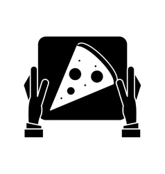 hand boy delivery box pizza pictogram vector image