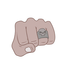 fist with skull ring vector image vector image