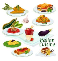 italian cuisine traditional food cartoon icon vector image