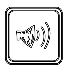 monochrome contour with button of audio speaker vector image vector image