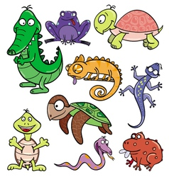 Reptiles and amphibians doodle icon set vector image