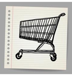 Scribble shopping cart vector image vector image