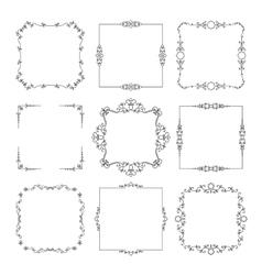 Vintage calligraphic square frame set vector image vector image