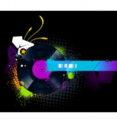 vinyl disc graffiti vector image vector image