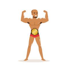 cartoon muscularity wrestler posing with vector image