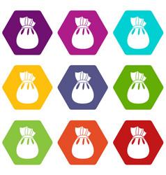 christmas bag of santa claus icon set color vector image