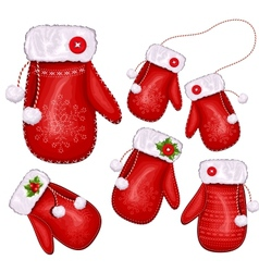 Christmas gift mittens vector image vector image