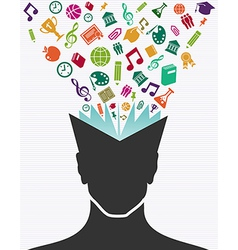 Education colorful icons human head book vector image