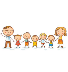 happy family with many children vector image vector image