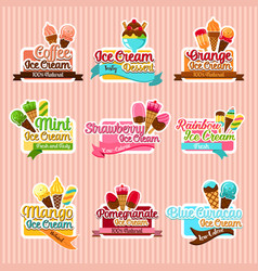 ice cream sorts stickers icons set for cafe vector image vector image