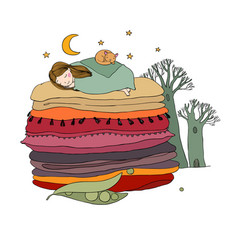 Princess on the pea blankets and pillows vector